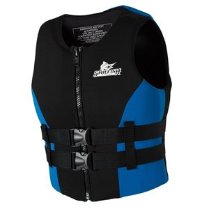 Erwachsene Kinder Schwimmweste Jacke für Bootfahren Angeln Schwimmen Wassersport Blau schwarz-blau S