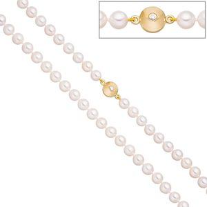 Kette mit 7,5mm Akoya Perlen Zirkonia Schließe 925 Silber vergoldet 45cm