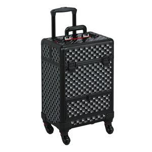 Yaheetech Alu Kosmetikkoffer Trolley Multikoffer Schminkoffer Beauty Case , 34 x 24 x 55 cm schwarz