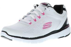 SKECHERS 13474/WBHP Flex Appeal 3.0-Steady Move Damen Sneaker Sportschuhe weiß/schwarz/pink, Größe:40, Farbe:Weiß
