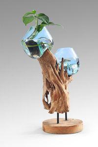 Glasvase XXL Teakholz Wurzel Dekoration Unikat Inneneinrichtung Bodenvase Glas Holz 50cm