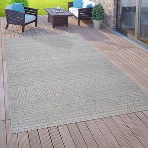 In- & Outdoor-Teppich Für Balkon Terrasse, Flachgewebe, 3-D Ethno-Look, In Grau, Grösse:120x170 cm