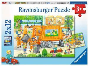 2 x 12 Teile Ravensburger Kinder Puzzle Unterwegs Müllabfuhr Kehrmaschine 07617