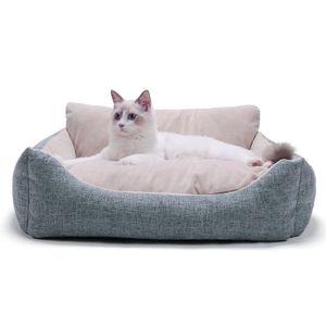 Weiches haustier nest bett warmes plüsch schlaf haus hunde bett katze winter 64 x 55 x 22,5 cm Hellgrau L. Hund Katzenbetten