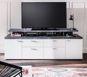 TV-Lowboard Mood in weiß und Stone Design grau Fernsehtisch mit Komforthöhe 180 x 66 cm