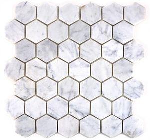 Mosaik Fliese Marmor Naturstein Hexagon Marmor weiß Carrara MOS44-0103_f