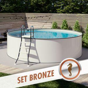 MTH Rundpool-Set BRONZE Ø 2,50 x 1,20 m Folie sand 0,80 mm aufgestellt