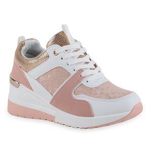 Giralin Damen Sneaker Keilabsatz Schnürer Metallic Schnür-Schuhe 836714, Farbe: Weiß Rosa Rose Gold Metallic, Größe: 39