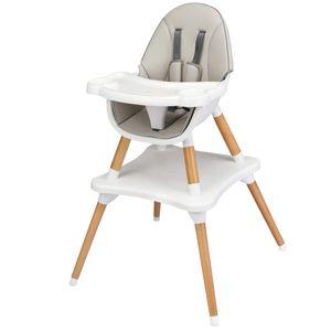 COSTWAY 4-in-1 Babyhochstuhl, Hochstuhl & Essstuhl & Kinderstuhl & Kindersitzgruppe, Kinderhochstuhl hoehenverstellbar, Babystuhl, Kombihochstuhl mit Sicherheitsgurt und abnehmbares Tablett Grau