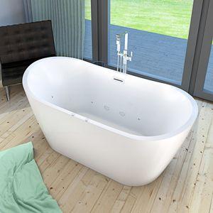 AcquaVapore freistehende Badewanne 180 x 80 x 72 cm, FSW23 Whirlpool Luft & Wasser mit Armatur AFSW05