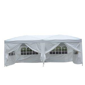 Outsunny 3x6 m Faltpavillon Pavillon Faltzelt Partyzelt Gartenzelt inkl. 6 Seitenteile Weiß