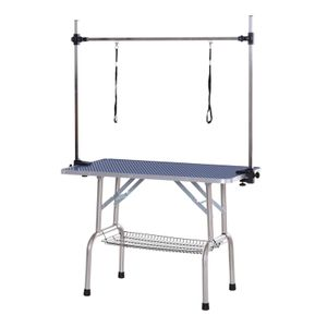 PawHut Trimmtisch Tierpflegetisch Schertisch mit Korb höhenverstellbar rutschfester Gummioberfläche abgerundeten Kanten Blau 107 x 60 x 170 cm