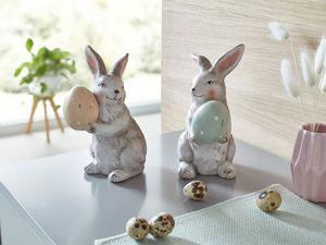Hase mit Ei, 2er Set österliche Dekoration, Hase, Tischdeko Ostern Figur