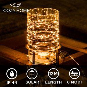 Kupferdraht 100er Solar Lichterkette Aussen   12 Meter Gesamtlänge - Outdoor LED Lichterkette außen Solar   100 LEDs warm-weiß   Solarlichterkette für außen von CozyHome als Balkon Weihnachtsdeko
