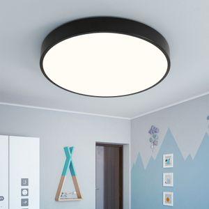 Natsen 18W LED Deckenleuchte ultra dünn Deckenlampe rund warmweiß 3000k für küche Dieler Schlafzimmer (schwarz)