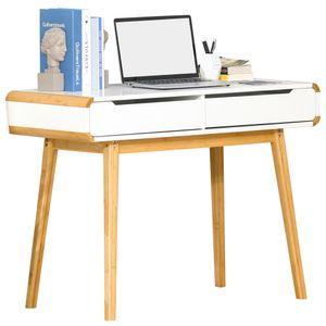 HOMCOM Schreibtisch Computertisch Bürotisch mit 2 Schubladen natürliches Design MDF Bambus Weiß+Natur 100 x 45 x 73 cm