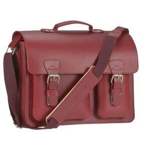 Ruitertassen Lehrertasche Leder 30x40cm Schultasche Aktentasche 2 Fächer rot Damen Büchertasche Arbeitstasche 2337T-15