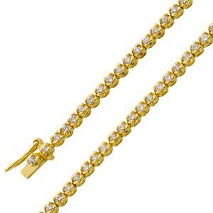 Armband Gelb Gold 585 Diamant Brillant Tennisarmband 1,00ct  leicht getöntes Weiß 19