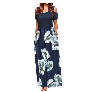 Frauen Sommer kalte Schulter Blumendruck Elegantes Maxi Langes Kleid Taschenkleid Größe:L,Farbe:Navy