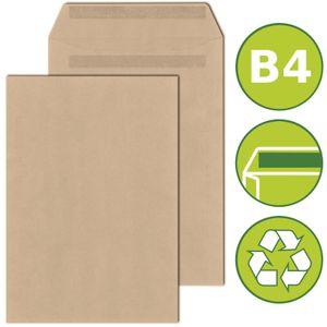 500 x Versandtaschen Briefumschläge DIN B4 selbstklebend 250x353mm Braun