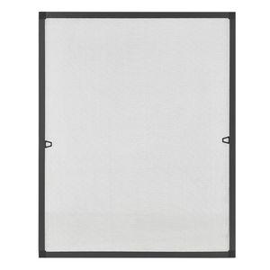 Juskys Fliegengitter für Fenster 110 x 130 cm – Insektenschutzmit Alu-Rahmen zum Einhängen – Insektenschutzgitter UV-beständig in Grau
