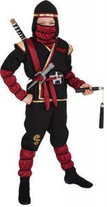 O5272-128-140 schwarz-rot Kinder Junge Mädchen 6 teiliges Ninja-Samurai Kostüm Gr.128-140