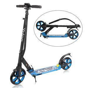 YOLEO Big Wheel Scooter für Erwachsene Roller Kickscooter Tretroller Cityroller für Kinder ab 10 Jahre 200mm Klappbar und Höhenverstellbar mit Tragegurt (Blau)
