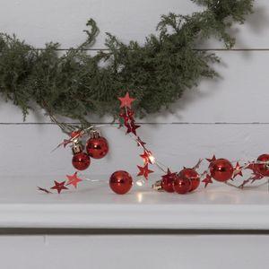 Star Trading 728-07, Lichterkette mit 10 warmweissen LED, rote Deko Timer