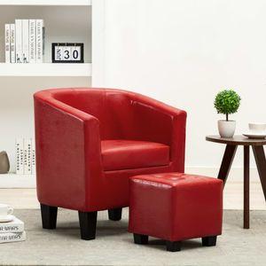 Sessel Loungesessel mit Fußhocker Rot Kunstleder| Bürosessel Relaxsessel Fernsehsessel für Wohnzimmer