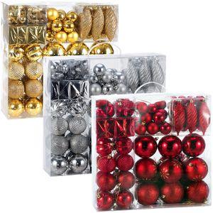 Weihnachtskugeln 103er Set Christbaumkugeln Weihnachtsbaumkugeln Weihnachtsbaumschmuck , Farbe:silber