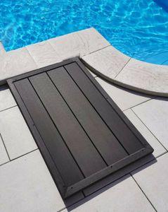 WPC Bodenelement für Solardusche Dusche Pool Pooldusche Aussendusche Gartendusche 102 x 62 x 6 cm