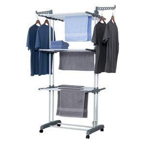 GEORGES Wäscheständer 3 Ebenen klappbar, mobil ca. 18 Meter Wäscheleine, mit Seitenflügel Grau