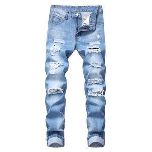 Herrenmode Slim Fit Persönlichkeit Straightl Casual Ripped Jeans Jeanshose Größe:34,Farbe:Light blue