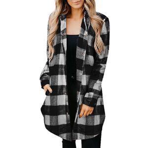 Langes Damenhemd Lässige karierte Freizeitjacke mit Print,Farbe: Schwarz,Größe:S