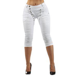 Giralin Damen Baggy Caprihosen Skinny Fit Regular Waist 5-Pocket-Style 837530 Weiss 40 / L