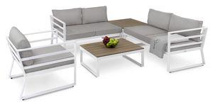 diVolio Gartenmöbel-Set AVOLA Gartensitzecke mit Couchtisch Gartenlounge für Terrasse, Balkon Garten in Weiß mit grauen Bezügen