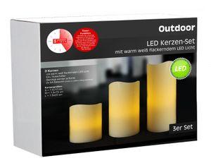 Outdoor LED Kerzen Set mit Timer - 3er Set LED Kerzen für Außen