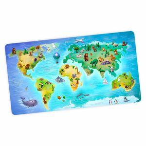 stabile XXL Vinyl Schreibtischunterlage Weltkarte Bastelmatte Kinder Platzset abwaschbar