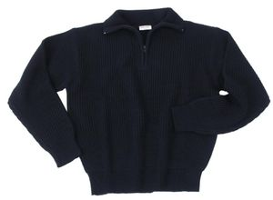 Isländer Pullover, Troyer, schwarz mit Reißverschluss, Größe XXL