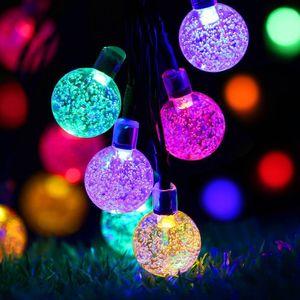5m 20LEDs Solar Blase Kugel Lichterkette 2 Beleuchtungsmodi Außen Party Garten Deko Lichterketten, Bunt