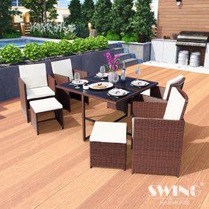 Poly Rattan Sitzgruppe Esstisch Lounge Gartenmöbel Sitzgarnitur 9-Teilig Garten-Garnitur Set 1x Tisch + 4x Stühle + 4x Hocker - braun