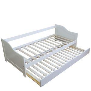Homestyle4u 1420 Holzbett Kiefer massiv , Einzelbett aus Bettgestell mit Lattenrost Bettkasten ausziehbar , 90x200 cm , Weiß
