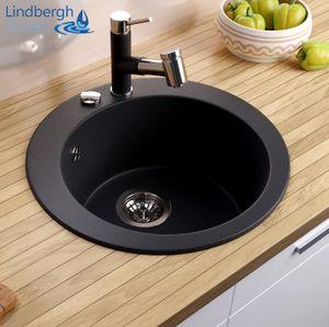 "LINDBERGH® Granitspüle Schwarz ""TON11"" inkl. Siphon Einbauspüle Küchenspüle Spüle KÜCHE"
