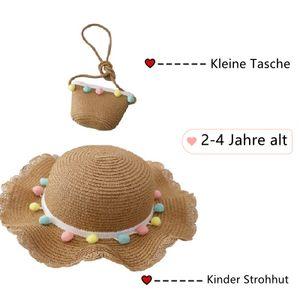 Kinder Strohhut und Handtasche Set Mädchen Sommer Sonnenhut Sommerhut Strandhut UV-Schutz für den Urlaub Reise Outdoor-Aktivitäten