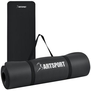 ArtSport Sportmatte rutschfest & gelenkschonend – Yogamatte 185 x 60 cm groß – extra 1cm Dicke – Fitnessmatte – Yoga Pilates & Fitness – schwarz