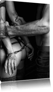 Sexy Frau in Handschellen Kunst B&W, Format: 100x70 auf Leinwand, XXL riesige Bilder fertig gerahmt mit Keilrahmen, Kunstdruck auf Wandbild mit Rahmen, er als Gemälde oder Ölbild, kein Poster oder Plakat