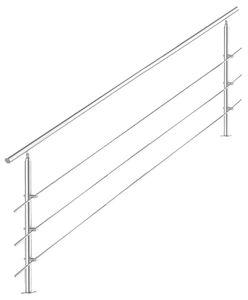 Treppengeländer Edelstahl Handlauf Geländer Balkongeländer Aufmontage Treppe, Länge:160 cm, Anzahl Streben:3