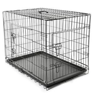 TRESKO® Hundekäfig 91x58x64cm Metall Transportkäfig Auto Hundebox Transportbox faltbar Drahtkäfig