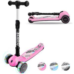YOLEO Kinder Roller Kinderscooter Dreiradscooter mit LED Räder, 2-Rädern Hinterbremsen, 4 Höhenverstellbare, faltbarem Lenker, bis 50kg belastbar, für Kinder Mädchen Jungen ab 3 Jahre(Rosa)