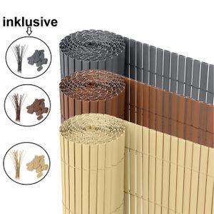 Ribelli® PVC Sichtschutzmatte Sichtschutzzaun Sichtschutz Zaun Balkon Windschutz, Farbe:bambus, Länge:3 Meter, Höhe:90 cm